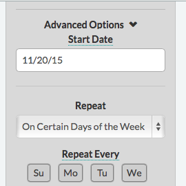 I don't have to start studying until November! (Dailies > Edit > Advanced Options > Start Date)
